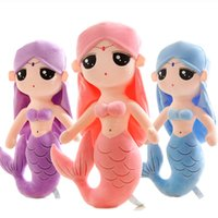 Wholesale The little girl Princess Mermaid doll plush toys pillow doll children girls birthday gifts colors