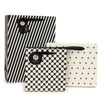 Wholesale Small size elegant dots and stripe paper gift bag stock ivory board paper shopping bag with handles ELB164