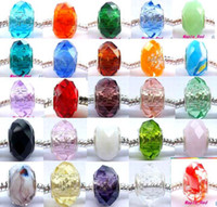 Wholesale 100pcs mix Sivler core Faceted Crystal Beads for Jewelry Making Loose Lampwork Charms DIY Beads for Bracelet in Bulk Low Price