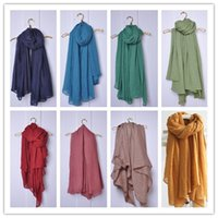 Wholesale Autumn thin pure linen fold super long big shawl women sexy fashion cheap multicolor punk scarf scarves wraps scarf and shawl