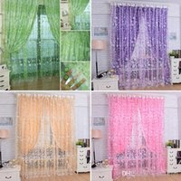 Wholesale 1Pc Housing Home New Floral Tulle Voile Door Window Curtain Drape Panel Sheer Scarf Valances Sheer Curtains E00614 OSTH