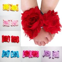 america photographs - Children s hair accessories baby foot flower pin flash elastic cloth flowers photographed with jewelry in Europe and America