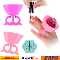 Wholesale Nail Polish Bottle Stand Holder Fashion Girls Women Lady silicone finger wear ring nail art nail salon tools Bottle Display Stent WX B77