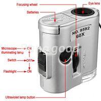 Al por mayor-Nuevo Mini lente de 60X Lupa Microscopio de bolsillo con el joyero joyería luz LED Lupa moneda Dectector