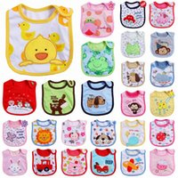 baby feeds - 3 layer Cotton Baby Waterproof Bib Feeding Cartoon Infant Bibs Burp Cloths styles by DHL G179