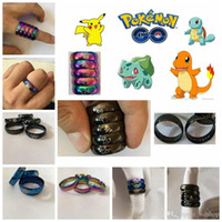 accessories steel logo - PokéMon Go Logo Band Rings Colors Pocket Monster Stainless Steel Ring Poke Mon Go Cartoon Metal Rings Fashion Jewelry Accessories