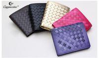 Wholesale 2016 new women s handbag brownCappuccino Brand new fashion style short sheepskin woven leather wallet women s wallet
