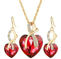 Wholesale Europe and the United States wedding dinner luxury heart shaped Austrian crystals zircon earrings necklace jewelry suit female
