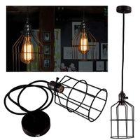 Wholesale Edison Retro Vintage Antique Practical Home Decor Ceiling Pendant Light Metal Column Cage Lampshade