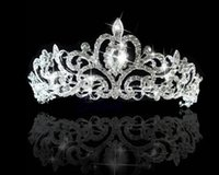 Wholesale 2016 Bridal Crystal Veil Tiara Crown hot selling engagement Shining Beaded Wedding Crowns Headband Hair Accessory in Rhodium plating