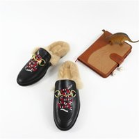 Wholesale 2016 Best Selling Women Flat Shoes Horsebit Fur Embellished Slippers Slingback Casual Shoes Drop Shipping