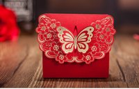 Wholesale 2016 Gold Red Candy Boxes Favor Boxes with Hot Flowers pecs Paper For Wedding Gust Gifts Red gilt butterfly Favor holders