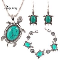 ancient gold jewellery - Turkish Vintage Jewelry Sets Tortoise Pendant Necklace Bracelet Earrings Ancient Silver Plated Clothing Jewellery