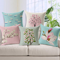 Wholesale Chinese Ink Painted Retro Hand painted Jade Orchid Pillow Case Linen Cotton Pillow Cover Cushion Cover cm