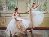 One Panel beautiful ballet dancers - WK430 Two Beautiful Ballet dancer Art Photo Print On Canvas Classic Painting Studios Decor Unframed Genteel Girl Cute Dancing