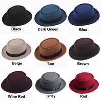Wholesale Unisex Classic Felt Pork Pie Porkpie Hat Cap Upturn Short Brim Black Ribbon Band