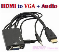 audio adaptor cables - HDMI to VGA mm Audio Cable Converter Adapter Male to Female HDMI VGA Video adaptor HDTV CRT Monitor TV Convex head