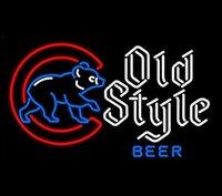 al por mayor lámpara de pared de cerveza-MLB Chicago Cubs VIEJO Estilo Real Vidrio Neon Light Sign Casa Beer Bar Pub Sala de recreo Sala de juegos Ventanas Garage Wall Sign