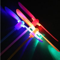 bamboo process - LED flash bamboo dragonfly handle stripe processed traditional light bamboo dragonfly flying fairy outdoor toys for children