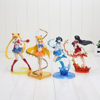 Wholesale 4pcs set anime Sailor Moon Sailor Venus Mercury Mars PVC Action Figure Model Toy good girl s gift approx cm