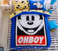 Wholesale Happy Mickey Mouse Kids Bedding Sets Bedding Animation Cartoon Home Textiles Duvet Cover Sets Pieces Bedding Sets