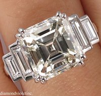 antique asscher - GIA CT ANTIQUE VINTAGE DECO ASSCHER DIAMOND ENGAGEMENT WEDDING RING PLATINUM