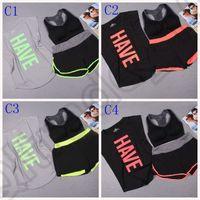Wholesale 100Set LJJM116 Quicy dry Sport Letter Bras Suit Women YOGA Running GYM Bras Fitness Stretch Bras Loose T shirt Shorts Set