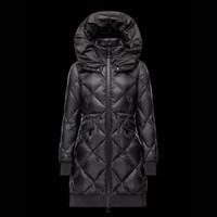 Cheap 2016 New Women coat Open mouth hood Winter long parka Black down jacket Skirt lady Light overcoat Waist belt