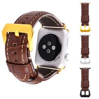 Wholesale Leather Apple Watch Band MM MM Brown Gold Black Gun Plated Metal Clasp iWatch Replacement Bracelet Band for Apple Watch All Models