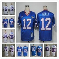andre white - Throwback Jim Kelly Thurman Thomas Bruce Smith Andre Reed Vintage White Blue Stitched Football Jerseys