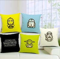 Wholesale 2016 Star Wars Darth Vader Yoda Cotton Linen Print Cushion Cover Windows Decorative Pillow Case Retail Home Pillow Without Filling
