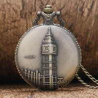 antique clocks london - Watches Clocks Pocket Fob Watches Antique Bronze Big Ben London Quartz Pocket Watch Necklace Pendant Gift P82