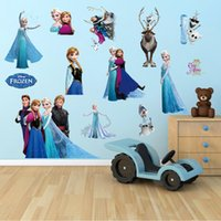 Wholesale DHL Factory Direct Frozen Wall Stickers Kid Room Home Decoration Anna and Elsa WallPaper Cartoon Removable CM