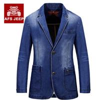 achat en gros de mince vestes en denim ajustement-2016 Nouveau printemps Hommes Vêtements de marque Denim Blazers Veste Plus Size M ~ 3XL Blue Jean Coat Slim Fit Casual Survêtement AFS JEEP Coton
