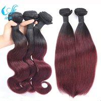 Cheap Hot Sale Omber Color 1b 99j Weft Hair Extensions Dark Wine Fashion Beauty Human Hair Weave Bundles Silky Straight Body Wave Brazilian Hair