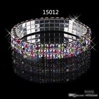 accessory row - In Stock Multi color Rhinestone Row Stretch Bangle Prom Evening Wedding Party Jewelry Bracelet Bridal Accessories Cheap