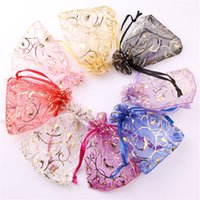 Wholesale 100pcs X9cm Random Mix Colors Jewelry Bags Packing Drawable Organza Bags Wedding Gift Bags Sachet Organza