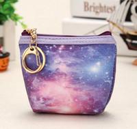 beautiful business card holder - 9 cm Beautiful sky printing Coin purse key holder wallet hasp small Christmas gifts bag clutch handbag