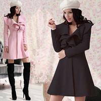 Wholesale Fashion Women s Winter fall Coats Flounced Ruffles Collar Woolen Dress Overcoats for Women Casacos De La Feminino