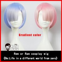 Wholesale Hsiu_Rem or Ram cosplay wig Animation Comic Re Life in a different world from zero Gradient color Character modeling Wig net weight g