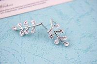 austria crystal stud earring - Stylish Leaf Jewelry Sterling Sivler Stud Earring K Platinum Plated Austria Crystal Inlayed Allergy Free