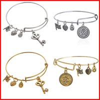 ancient band - Alex and Ani crystal skeleton key OM charm bangles bracelets band cuffs women girl Children fashion jewelry gift Ancient silver gold