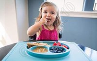 baby dining - Baby Silicone One piece Happy Placemat Plate Kids Smile Face Plate Baby Self Plate Tray Home Kitchen Dining Mats Pads Tool QQA312