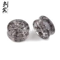 Wholesale Ekoo Jewelry Smoky Gray Shattered Quartz Organic Stone Ear Plugs Ear Piercings