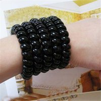 big bold rings - diameter cm Big Size Bold Black Telephone Wire Women Elastic Hair Rope Hair Ring Rubber Band Headdress