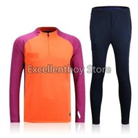 Wholesale Thailand quality orange sweater tracksuit long sleeve match pant sweater tracksuit set soccer training suit