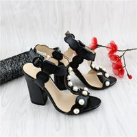 Wholesale European Grand Prix new sandals thick with high with the word buckle pearl sandals high heels summer fashion leather shoes