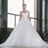 abiti belt - 2016 Plus Size Wedding Dresses Vestido de novia Ball Gown Princess Wedding Gowns Sexy Backless abiti da sposa Bead Belt