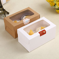 Wholesale 100 X Cavity Tray Cupcakes Box With Clear PE Film Window Kraft Brown White Muffin Boxes
