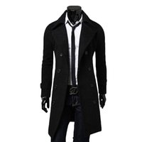 Wholesale Men Double Breasted Lapel Coat Male Casual Comfortable Outwear Windbreaker Long Trench Black Gray Camel Size M XXXL